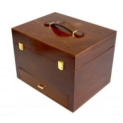 MR, Napoli Drewniana duża skrzynia na akcesoria do butów, okucia, skórzana rączka, barwiona na mahoń