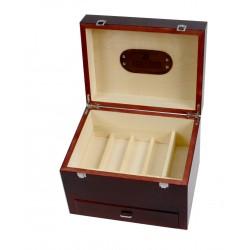 MR, Firenze Drewniana duża skrzynia na akcesoria do butów, okucia, skórzana rączka, barwiona na mahoń