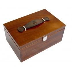 Marco Ricci firmowy lakierowany drewniany kufer 20x30x13,7 ze skórzaną rączką, złote lub srebrne okucia