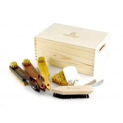Marco Ricci Campania Zestaw 7 szczotek i akcesoriów do pielęgnacji obuwia w drewnianym pudełku