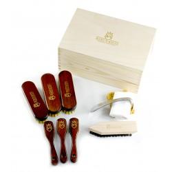Marco Ricci Zestaw Nr 12 szczotki do pielęgncji obuwia w drewnianym pudełku