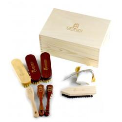 Marco Ricci Lombardia 10 el. zestaw szczotek i akcesoriów do pielęgnacji obuwia w drewnianym pudełku