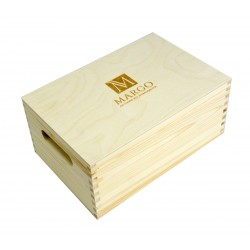 Firmowy drewnany kufer 30 x 20 x 13,5 cm, bez zawartości