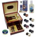 MR, XXL 35x27x26cm, 26 elementów Venezia trzy kolory Drewniana duża skrzynia do butów ze szczotkami i kosmetykami