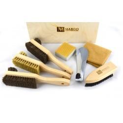 Margo, firmowy 7-el. zestaw do pielęgnacji obuwia w drewnianym kufrze