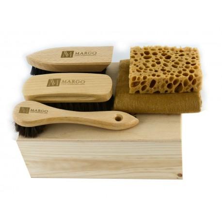 Margo MGS2-2, firmowy 5-el. zestaw do pielęgnacji obuwia w ekologicznym pudełku
