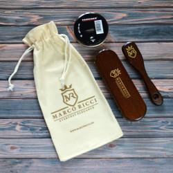 Marco Ricci mini 4-elementowy zestaw z pastą do butów ciemno brązowych w eko-woreczku